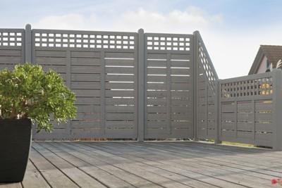 Sichtschutz / Zaun Elsass Grundelement Fichte grau lasiert 180 x 180cm ...