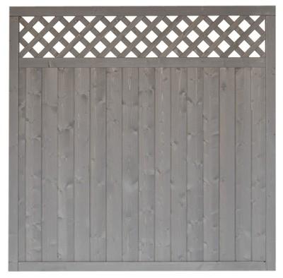 sichtschutz zaun husum grundelement fichte grau lasiert 180x180 cm bei. Black Bedroom Furniture Sets. Home Design Ideas