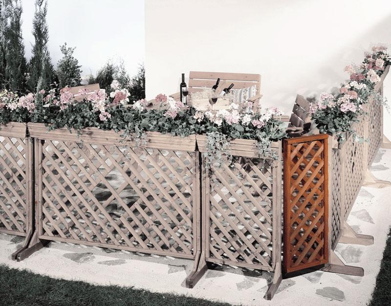 Zaun Sichtschutz / Blumenkasten Eckelement mit Spalier Orth 62x105cm Bild 1