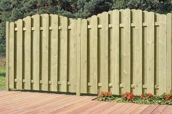 Sichtschutzzaun / Bohlenzaun-Element Bogen Holz kdi  90x180/160cm Bild 2