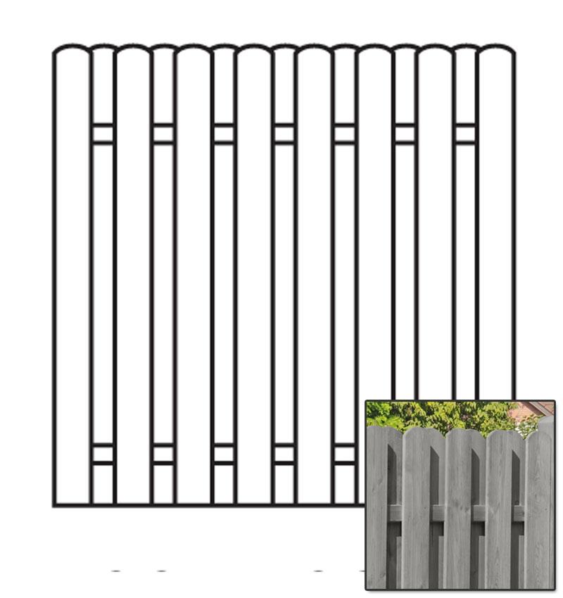 Sichtschutzzaun / Bohlenzaun-Element Holz KDI grau 180x180cm Bild 1