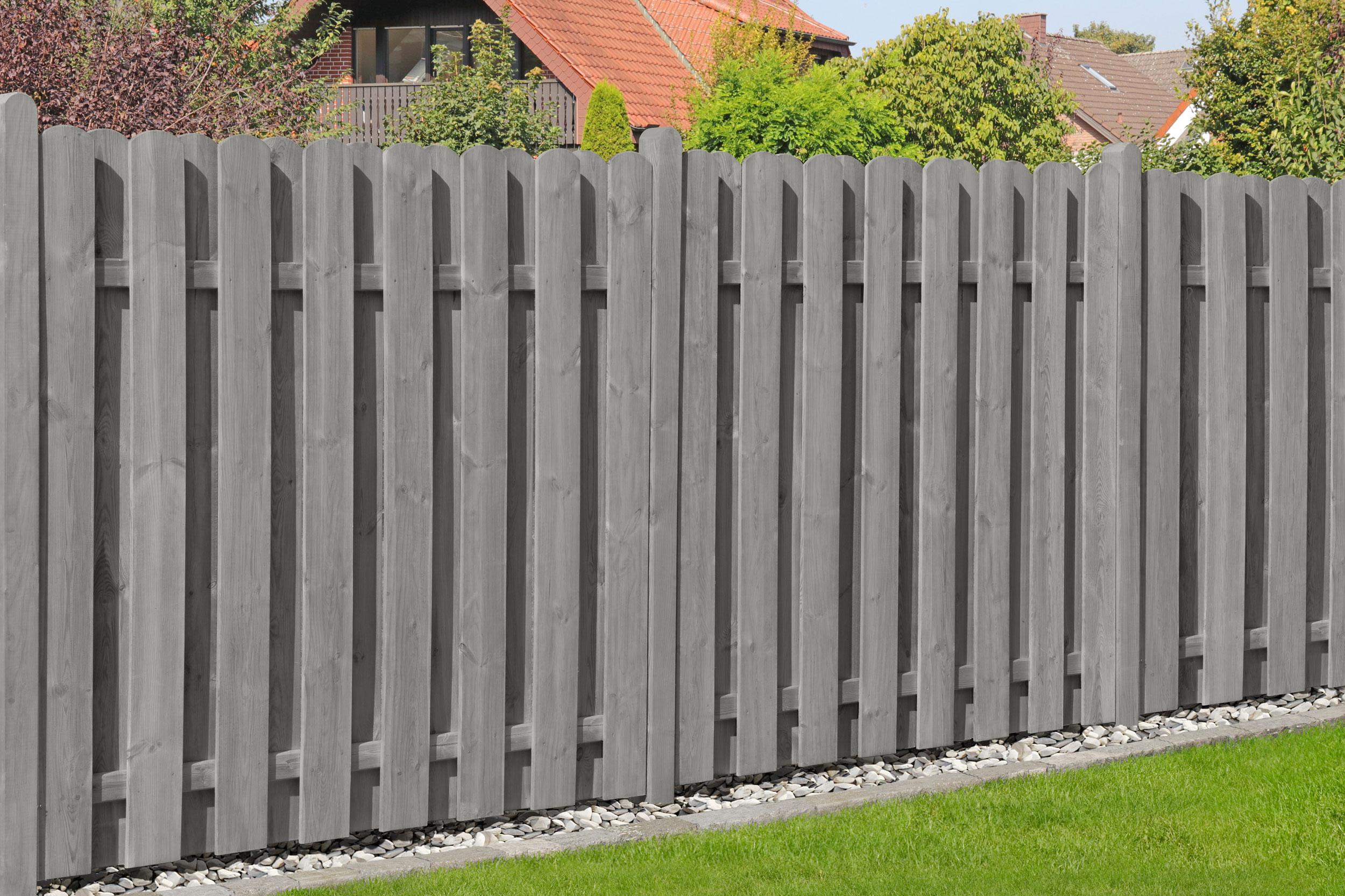 Sichtschutzzaun Bohlenzaun Schragelement Holz Ki Grau 90x180