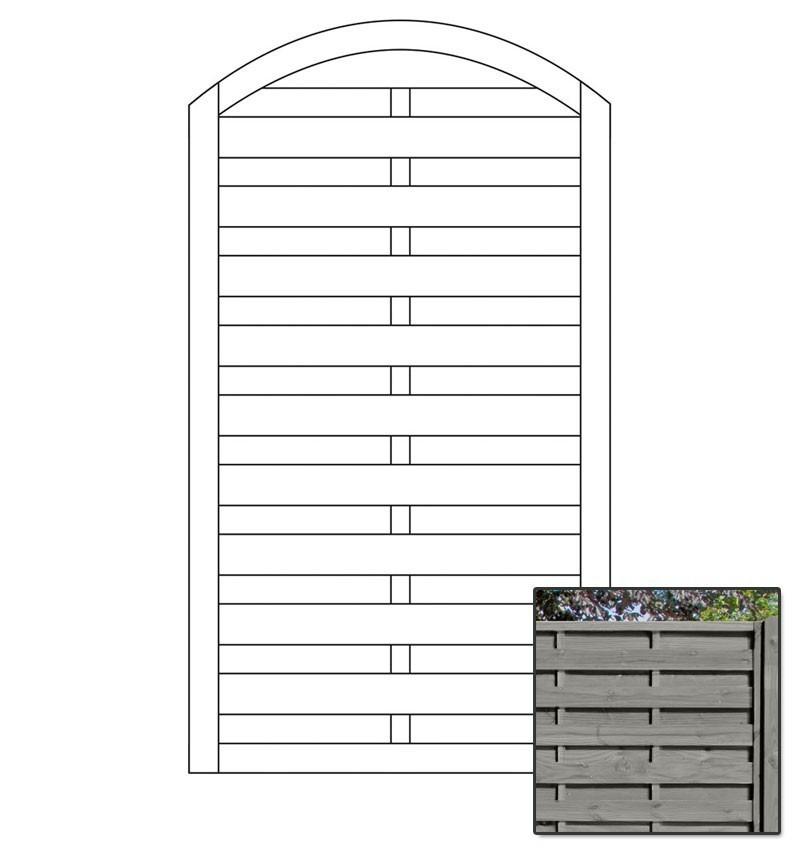 Sichtschutzzaun Torelement Dichtzaun Bogen Pforte grau 100x180/160cm Bild 1