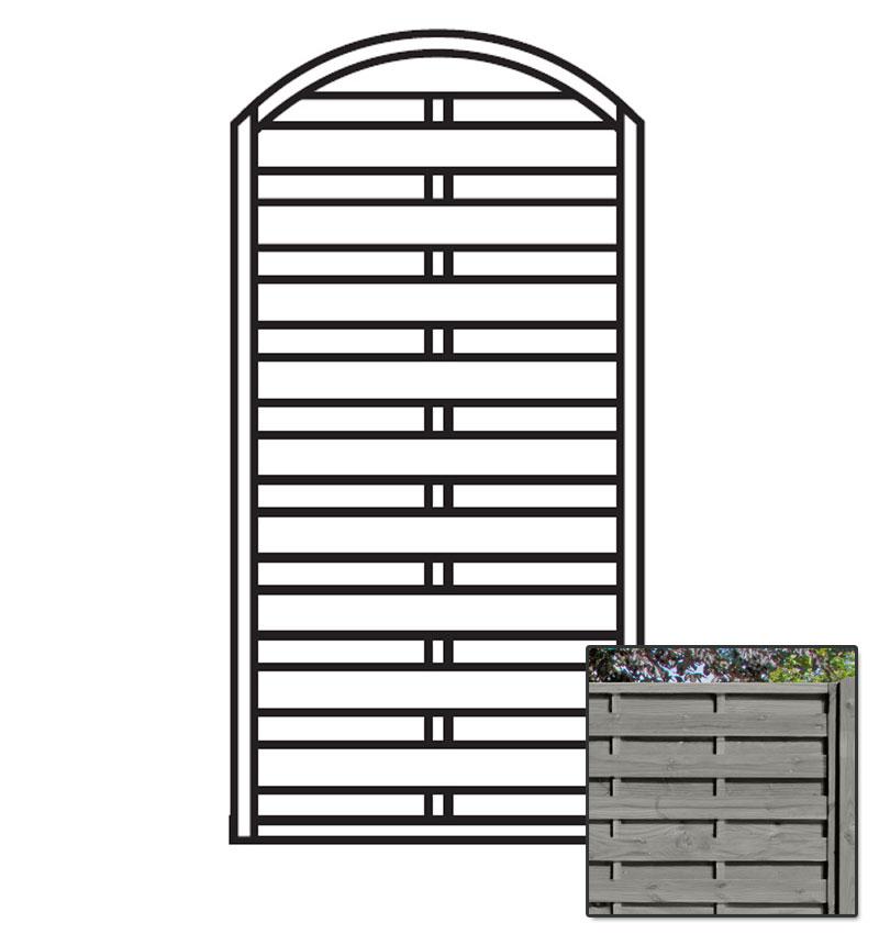 Sichtschutzzaun / Zaunelement Dichtzaun Bogen KDI grau 90x180/160cm Bild 1