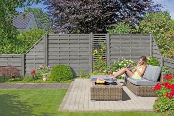 Sichtschutzzaun / Zaunelement Dichtzaun Bogen KI grau 90x180/160cm Bild 2