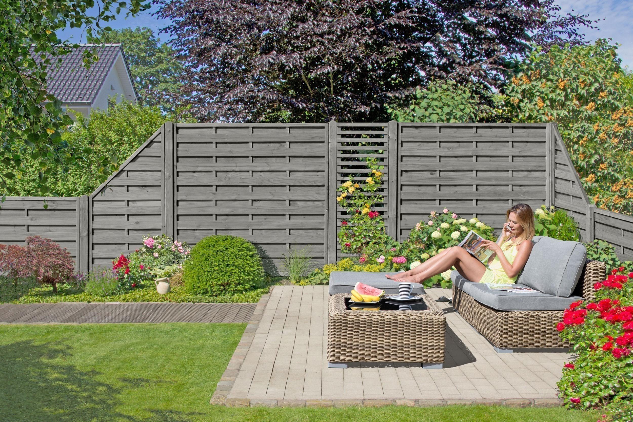 Sichtschutzzaun / Zaunelement Dichtzaun KI grau 90x180/90cm Bild 2