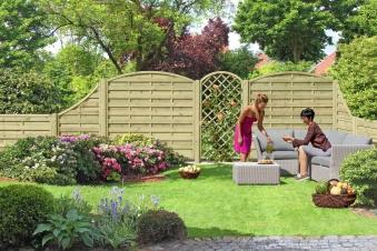sichtschutzzaun zaunelement mit rundbogen kdi 180 x 180 160 cm bei. Black Bedroom Furniture Sets. Home Design Ideas