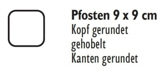 Zaunpfosten / Holzpfosten Rundkopf kdi braun 9x9cm Länge 190cm Bild 2