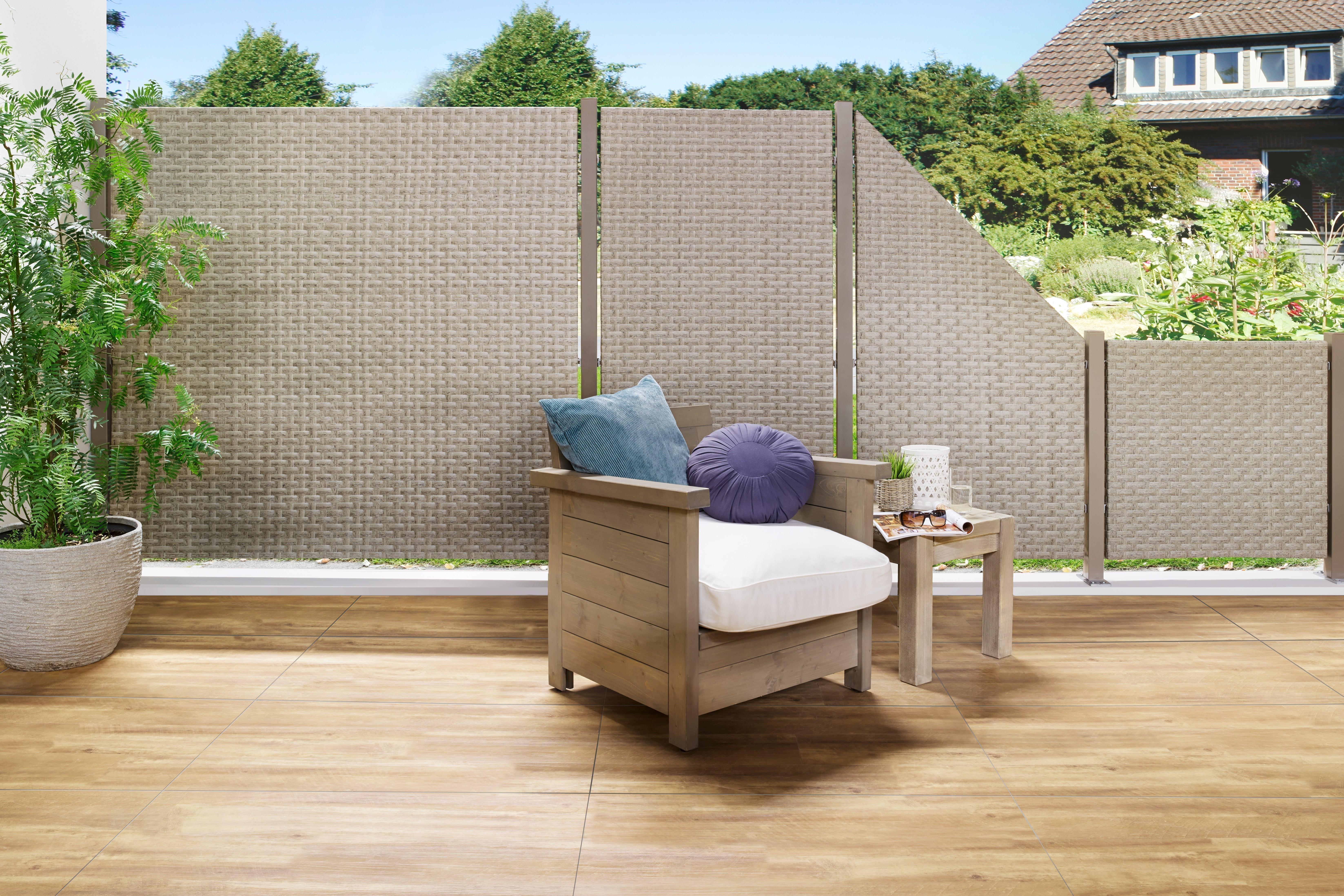 Sichtschutz Zaunelement Traumgarten WEAVE Polyrattan gray 88x178cm Bild 2