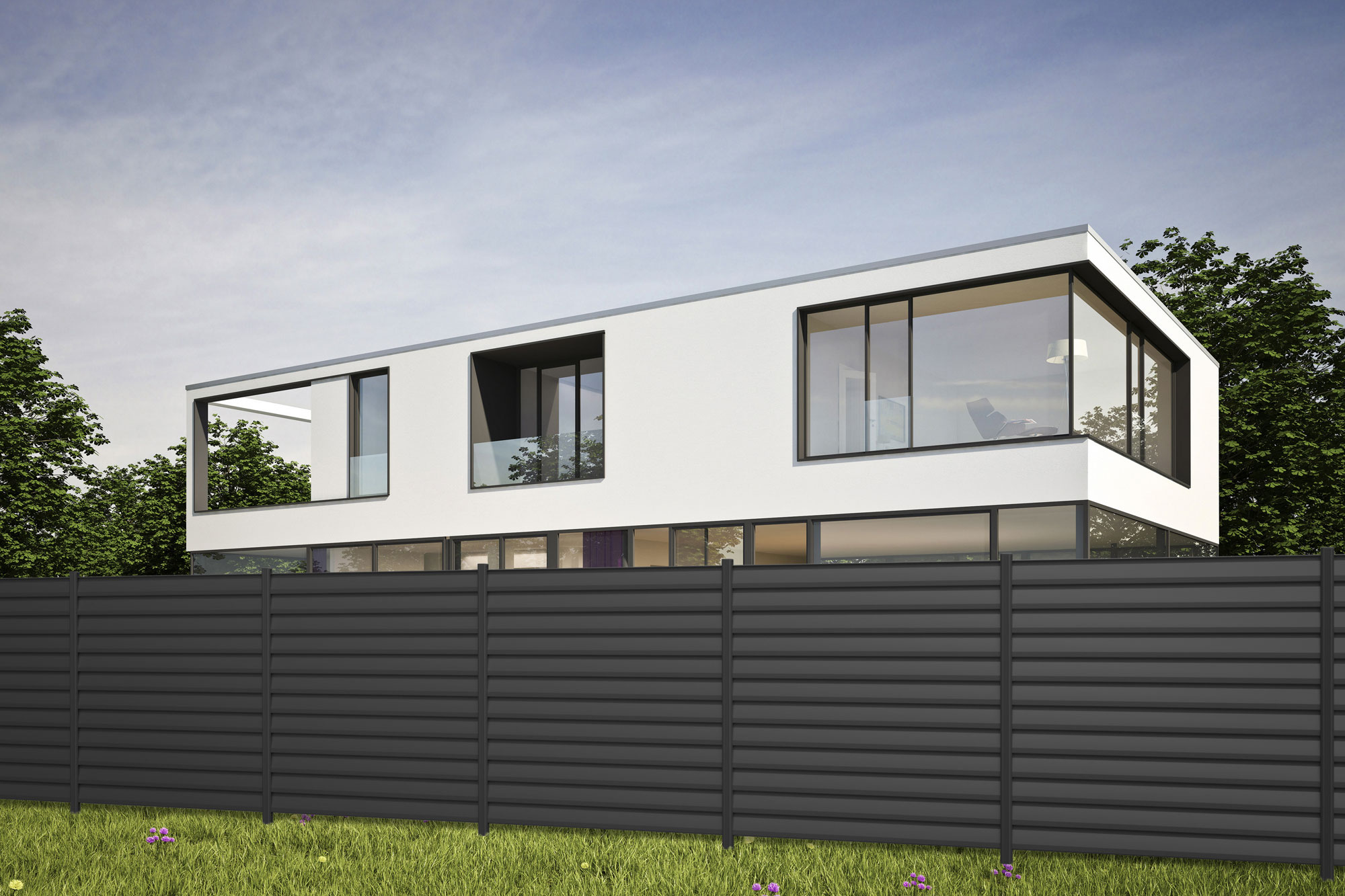 sichtschutzzaun system metall basic zaunfeld set anthrazit b179xh180cm bei. Black Bedroom Furniture Sets. Home Design Ideas