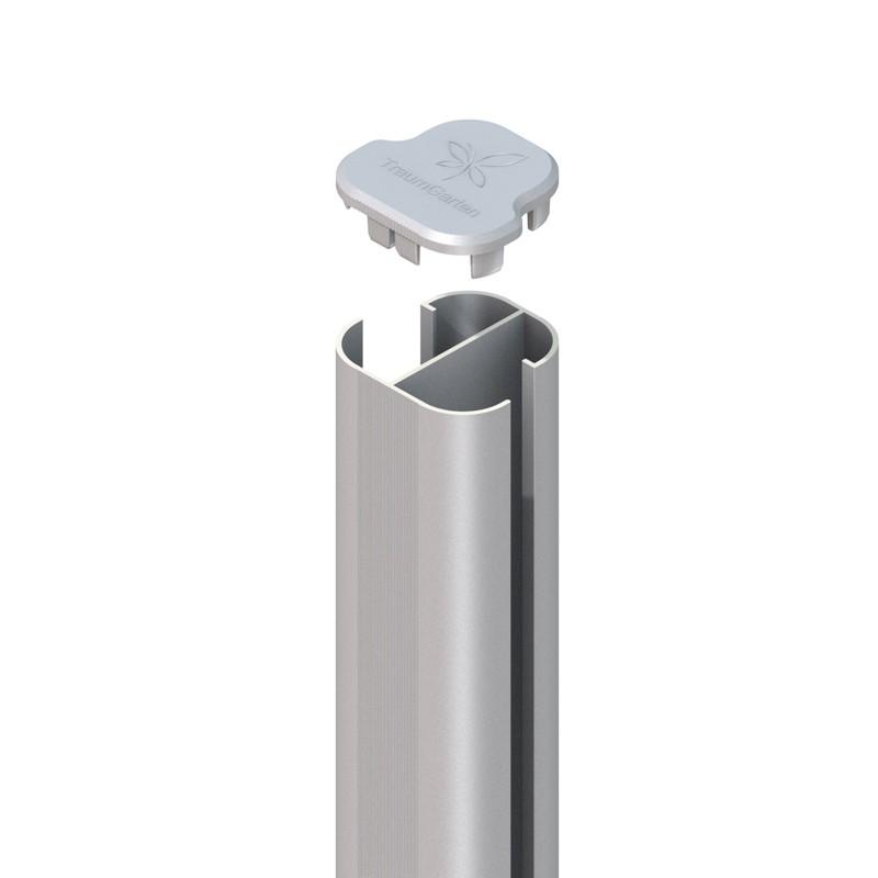 SYSTEM WPC / ALU Eck-Pfosten Basic silber Erdverbau 298 cm Bild 1