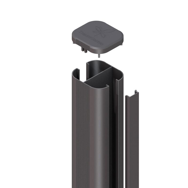 system wpc alu pfosten basic anthrazit erdverbau 298 cm. Black Bedroom Furniture Sets. Home Design Ideas