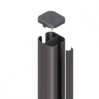 SYSTEM WPC / ALU Pfosten Basic anthrazit Erdverbau 298 cm Bild 1