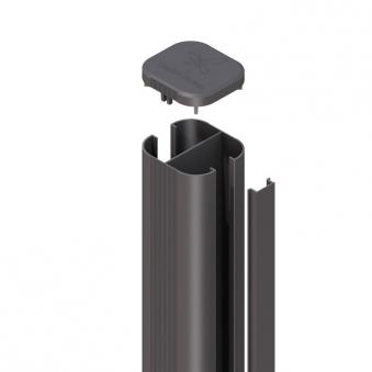 SYSTEM WPC / ALU Pfosten Basic anthrazit zum Aufschrauben 105 cm Bild 1