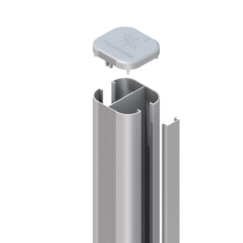 SYSTEM WPC / ALU Pfosten Basic silber Erdverbau 150 cm Bild 1