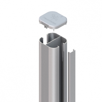 SYSTEM WPC / ALU Pfosten Basic silber Erdverbau 298 cm Bild 1