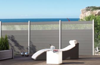 Sichtschutzzaun System WPC Zaunfeld-Set anthrazit / silber 178x183cm Bild 2