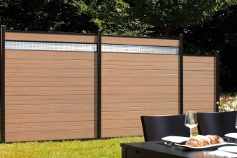 Sichtschutzzaun System WPC Zaunfeld-Set mandel / silber 178x183cm Bild 2