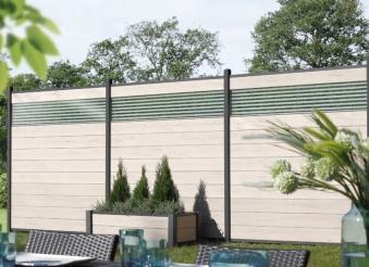 Sichtschutzzaun System WPC Zaunfeld-Set sand / silber 178x183cm Bild 2