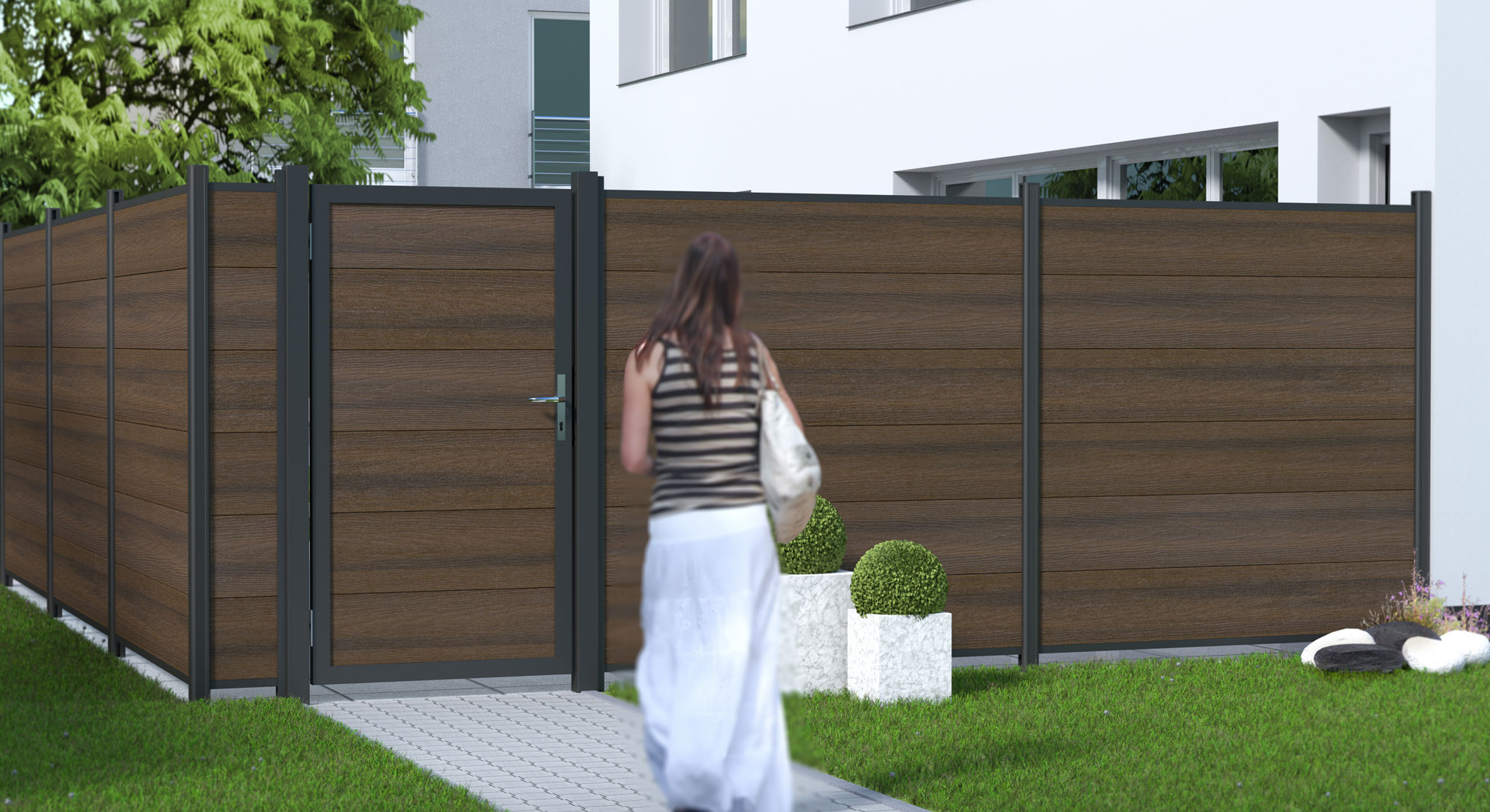 Sichtschutzzaun Traumgarten System WPC Platinum XL braun 178x183cm Bild 2