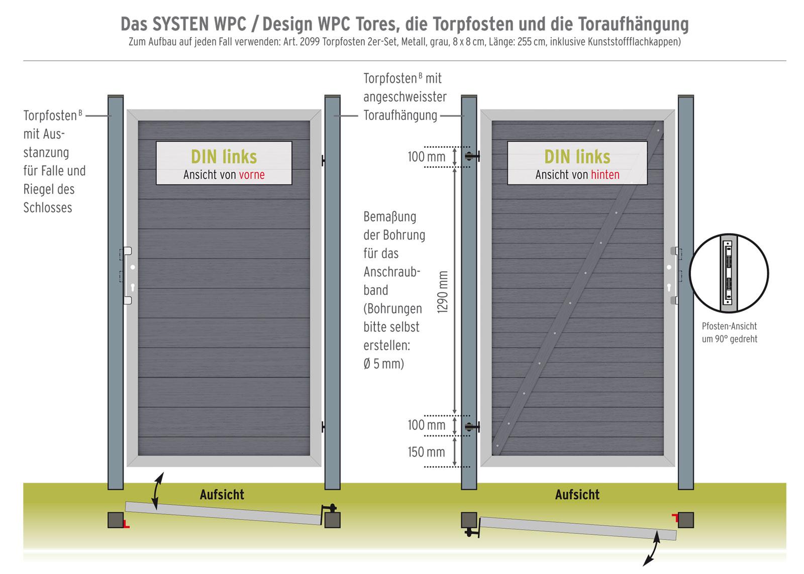 System WPC Tor Classic DIN links 98x179cm anthrazit / silber Bild 2