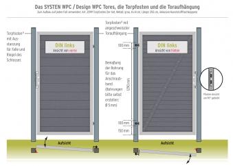System WPC Tor Classic DIN links 98x179cm mandel / silber Bild 2