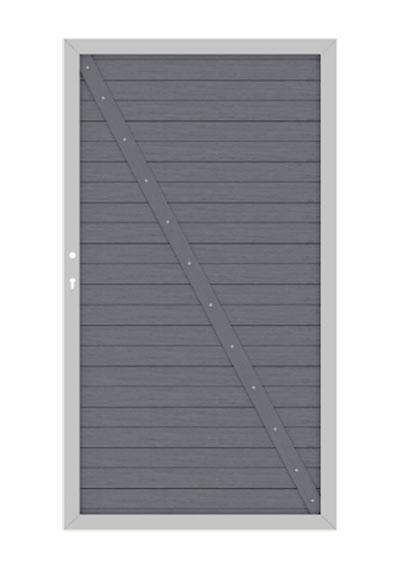 System WPC Tor Classic DIN rechts 98x180cm anthrazit Bild 1