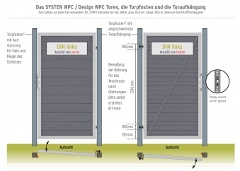 System WPC Tor Classic DIN rechts 98x180cm anthrazit Bild 2