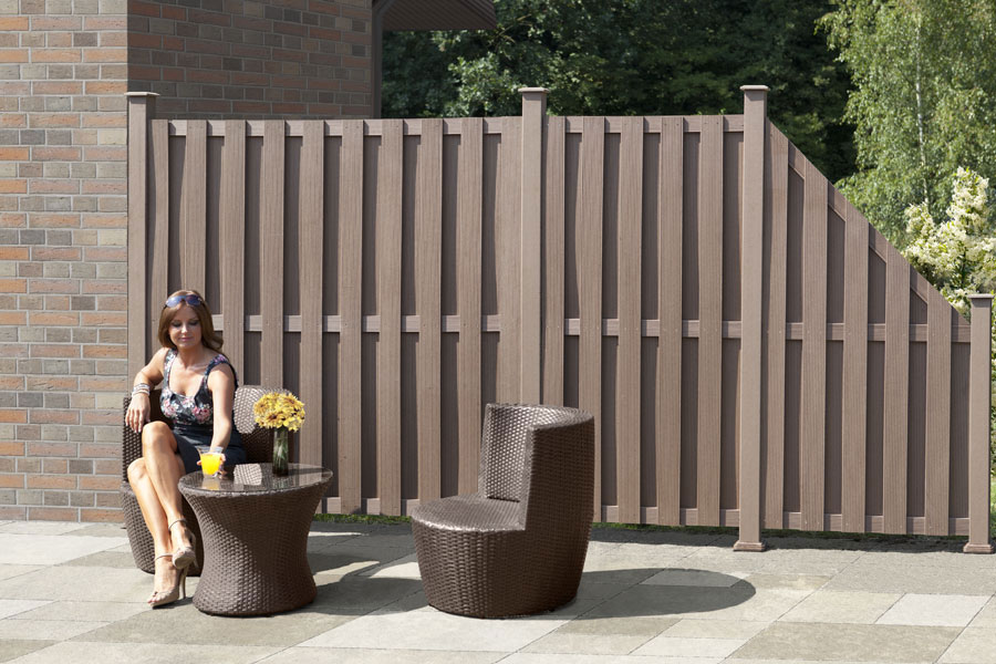 wpc zaun wpc sichtschutz braun 180x180cm bei. Black Bedroom Furniture Sets. Home Design Ideas