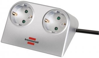 Brennenstuhl Steckdosenleiste Desktop Power 2-fach silber Bild 1