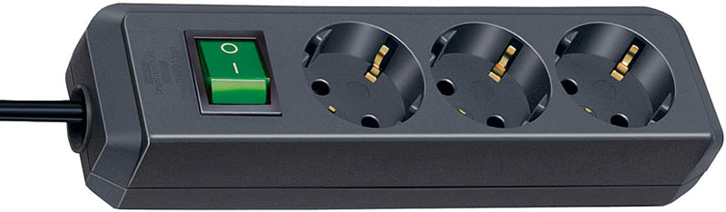 Brennenstuhl Steckdosenleiste Eco-Line 3-fach Schalter schwarz Bild 1