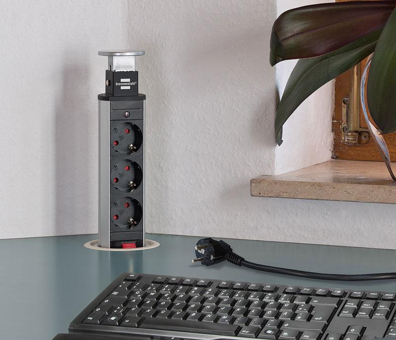 Brennenstuhl Tower-Power Tisch Steckdosenleiste 3-fach versenkbar Bild 2