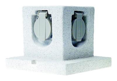 Garten-Steckdose Stone 4-fach Steckdose 3m Kabel Bild 1