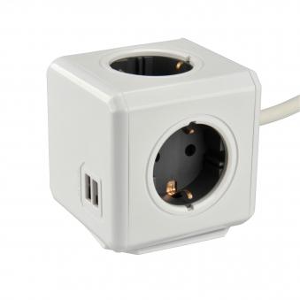 Steckdosenwürfel 4 Steckdosen / 2 USB-Ausgänge Bild 1
