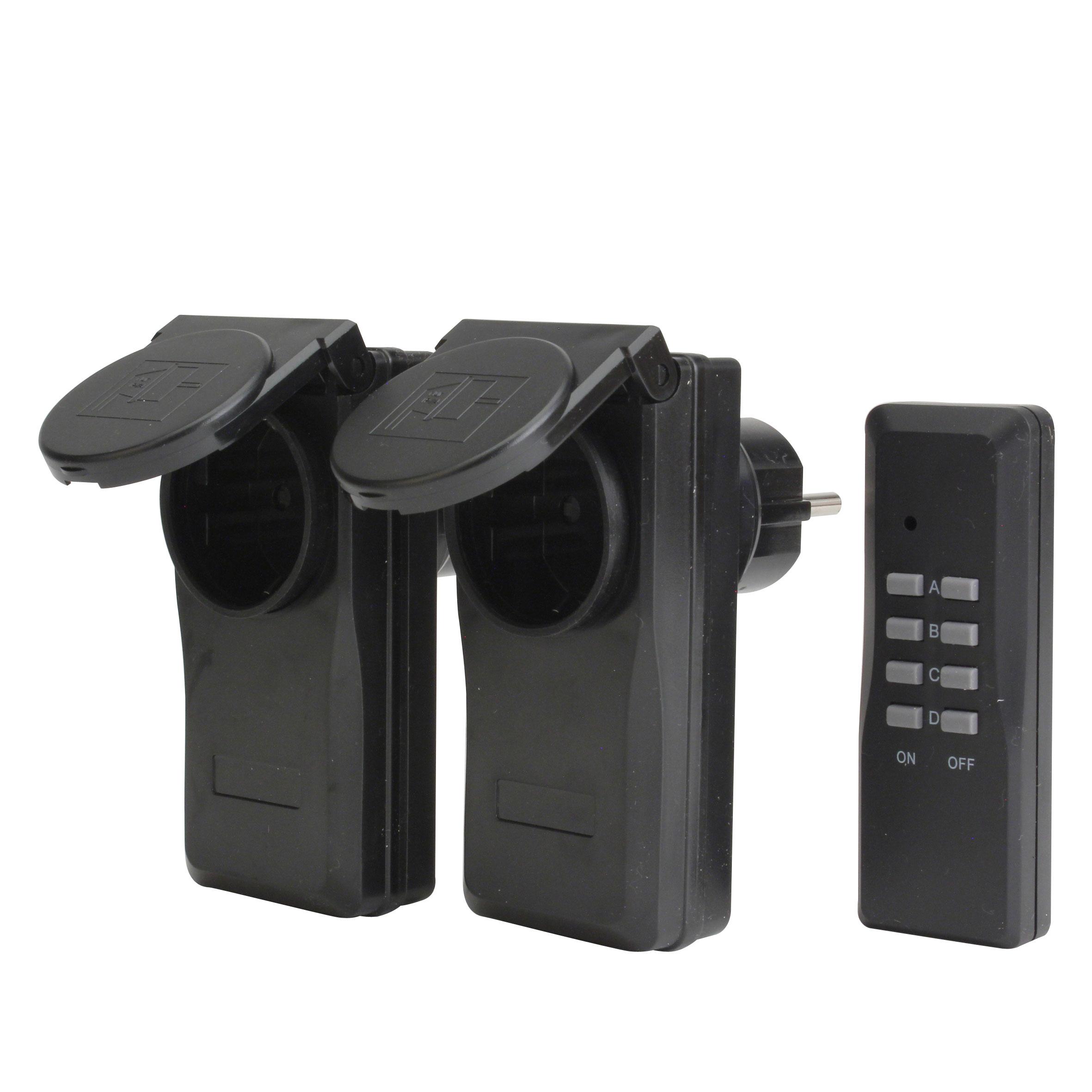 Unitec Funkfernschalter Set 2+1 Micro Außen IP44 1000 Watt schwarz Bild 1