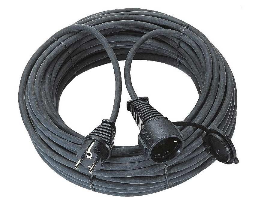 Brennenstuhl Gummi Verlängerungskabel IP44 schwarz 15m Bild 1