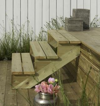 Treppenwange für 3 Stufen Plus Massivholz druckimprägniert 1 Stück Bild 2