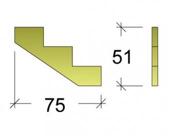 Treppenwange für 3 Stufen Plus Massivholz druckimprägniert 1 Stück Bild 3