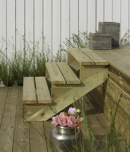 Treppenwange für 4 Stufen Plus Massivholz druckimprägniert 1 Stück Bild 2