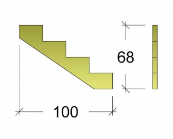 Treppenwange für 4 Stufen Plus Massivholz druckimprägniert 1 Stück Bild 3