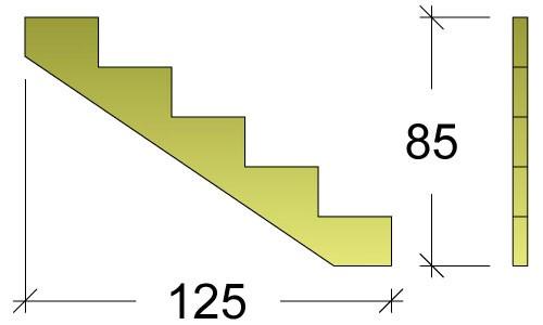 Treppenwange für 5 Stufen Plus Massivholz druckimprägniert 1 Stück Bild 3