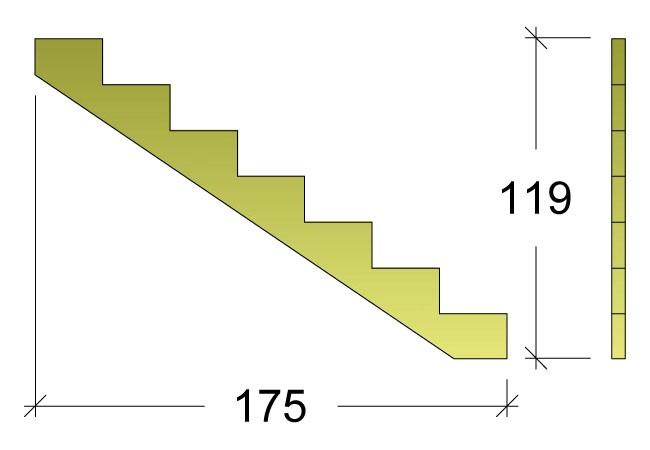 Treppenwange für 7 Stufen Plus Massivholz druckimprägniert 1 Stück Bild 3