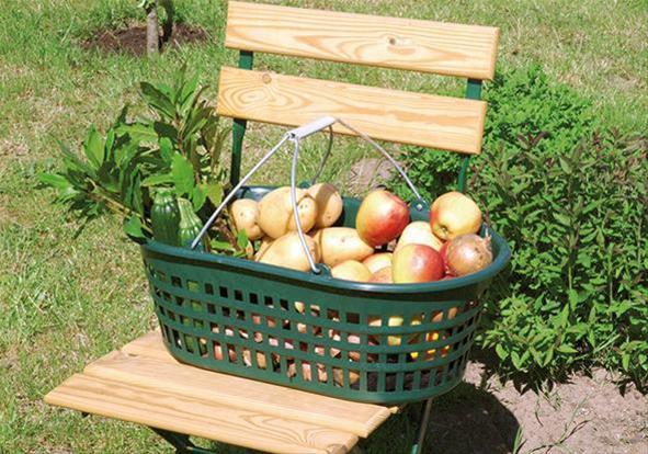 Gartenkorb 15 kg grün oval, m. Doppelklappbügel Bild 1