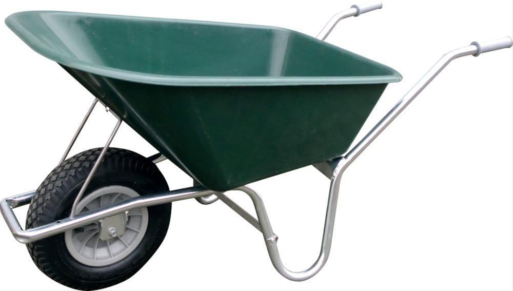 Schubkarre 100 Ltr. dunkelgrün mit Luftrad Bild 1