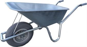 Schubkarre 90Ltr verzinktmit PU-Rad Nie-mehr-platt Bild 1