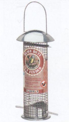 Vogelfutterstation / Vogelfuttersäule verzinkt 10x23cm - Gitterdesign Bild 1
