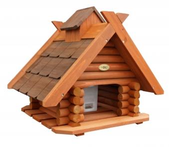 Vogelhaus / Futterhaus Habau Blockhaus mit Silo und Ständer Bild 1