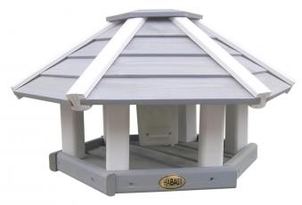 Vogelhaus / Futterhaus Habau Ottawa grau/weiß mit Silo und Ständer Bild 1