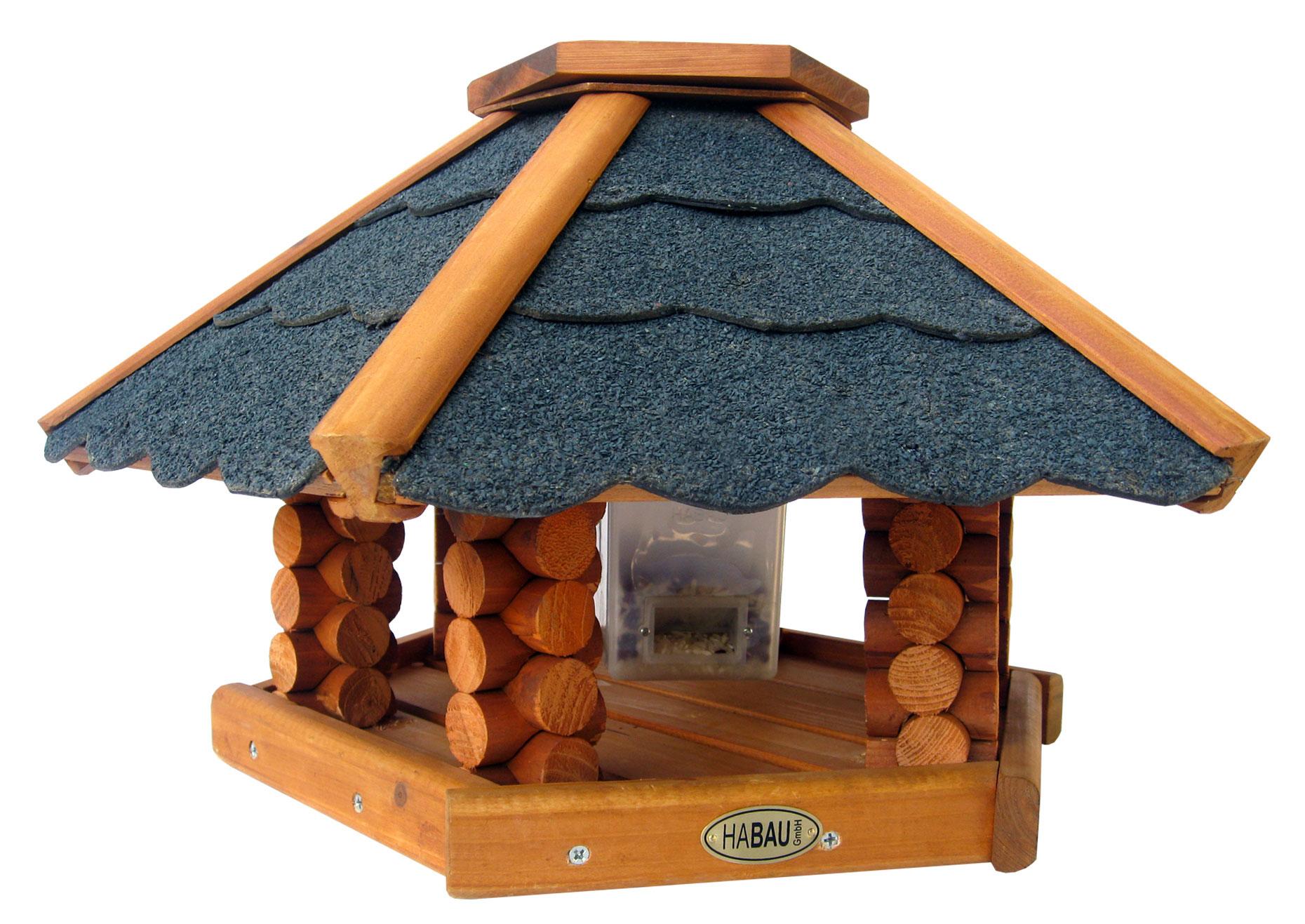 Vogelhaus / Futterhaus Habau Schweden mit Silo und Ständer Ø52x30cm Bild 1