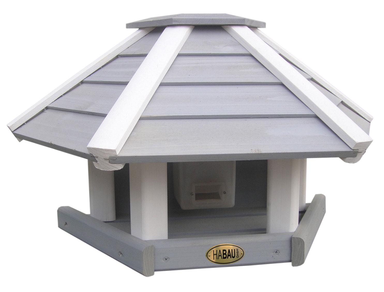 Vogelhaus / Futterhaus Habau Wandhänger grau / weiß mit Silo Bild 1